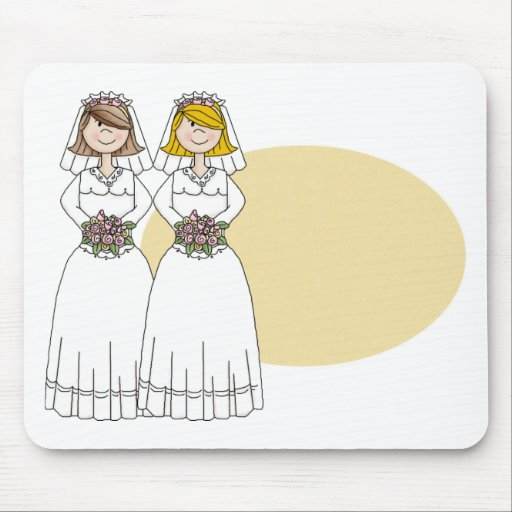 Customizable 2 Brides Wedding Tees and Gifts Mouse Pads