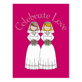 Customizable 2 Brides Wedding Tees and Gifts Postcard