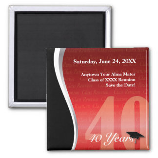 Customizable 40 Year Class Reunion 2 Inch Square Magnet
