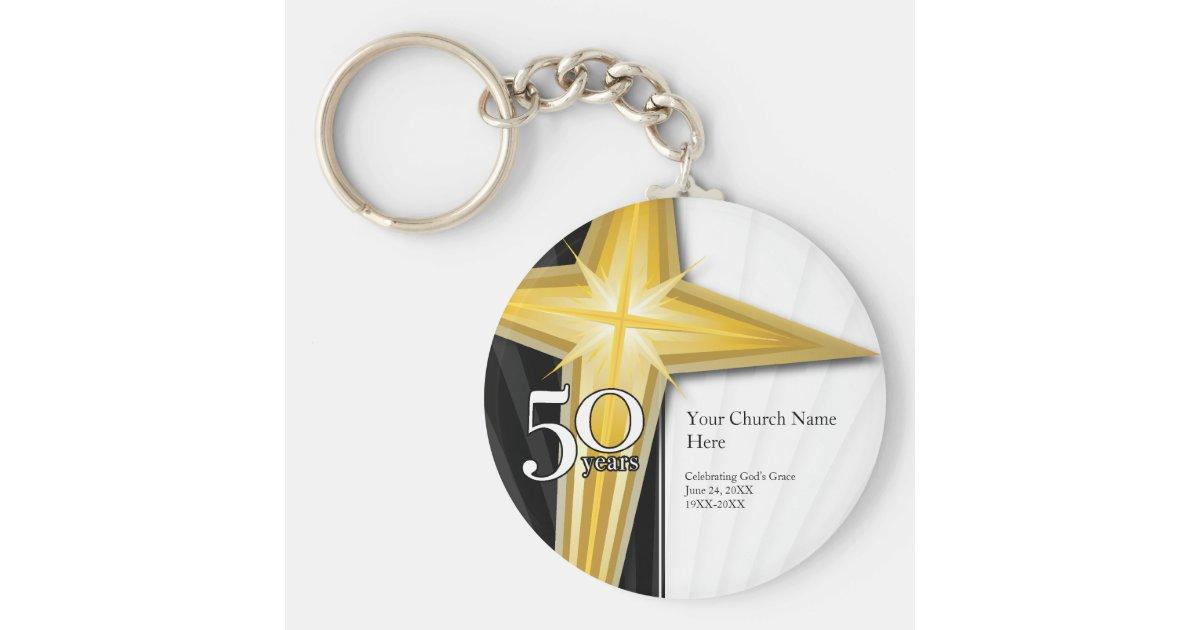 customizable 50 year church anniversary keychain zazzle com