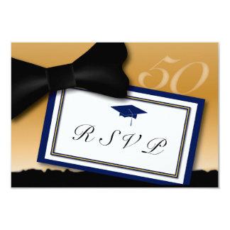 Customizable 50 Year Class Reunion RSVP Blue Card