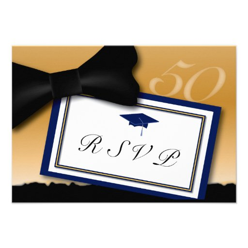 Customizable 50 Year Class Reunion RSVP Blue Personalized Invitation