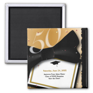 Customizable 50 Year Class Reunion Save the Date 2 Inch Square Magnet
