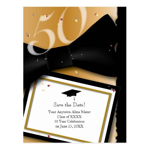 Customizable 50 Year Class Reunion Save the Date Post Cards