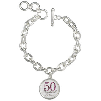 Customizable 50th Birthday Fabulous & Fierce Charm Bracelet