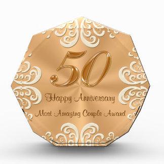 Customizable 50th Golden Wedding Anniversary Gifts Acrylic Award