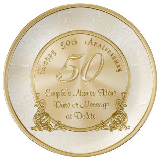 Customizable 50th Wedding Anniversary Gifts Plate at Zazzle