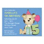 Customizable 5th Birthday Puppy Dog Personalized Invitation