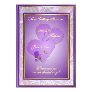 "Customizable 5X7 Ornate Purple Wedding Invitation 5"" X 7"" Invitation Card"