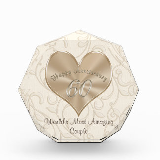 Customizable 60th Wedding Anniversary Gift Ideas Acrylic Award