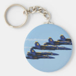 Customizable 6 Blue Angels Soaring in Sky Keychain