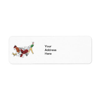 Customizable Abstract Art Dog Walker and Dogs Label