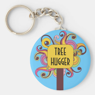 Customizable Abstract Tree Hugger Basic Round Button Keychain