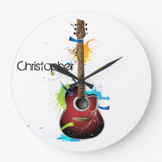 Customizable Acoustic Guitar with Paint Splatters Round Wallclocks