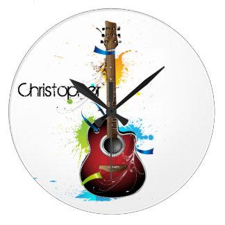 Customizable Acoustic Guitar with Paint Splatters Large Clock