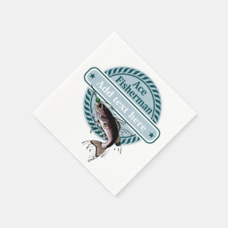 CUSTOMIZABLE (add your name) Ace Fisherman badge, Napkin