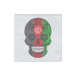 Customizable Afghan Flag Sugar Skull with Roses Stone Magnet
