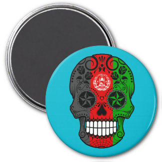 Customizable Afghan Flag Sugar Skull with Roses Refrigerator Magnet