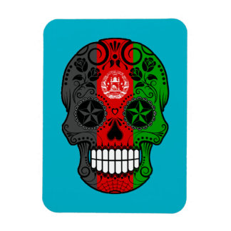 Customizable Afghan Flag Sugar Skull with Roses Rectangular Magnet