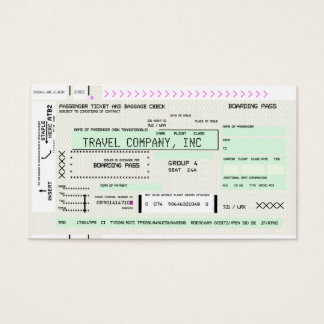 Customizable Airline Boarding Pass Business Card