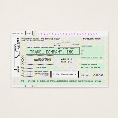 Custom Boarding Pass Airline Business Card
