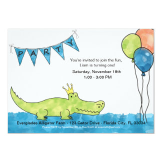 Customizable Alligator 1st Birthday Invitation