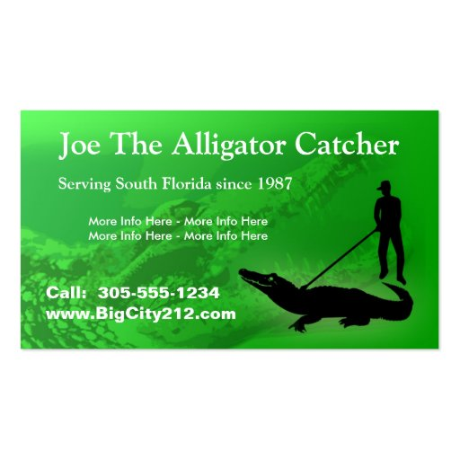 CUSTOMIZABLE Alligator Catcher BC Double-Sided Standard Business Cards (Pack Of 100)