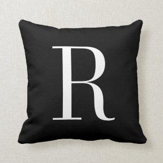 Customizable Alphabet Monogram Pillow - Black