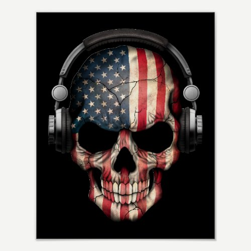 Customizable American Dj Skull with Headphones Poster