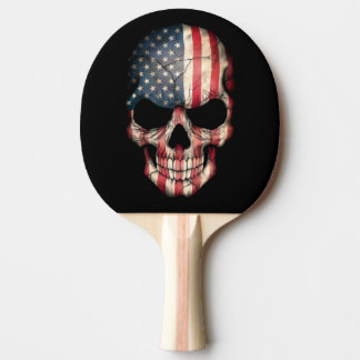 Customizable American Flag Skull Ping-Pong Paddle