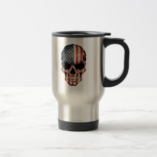 Customizable American Flag Skull Travel Mug