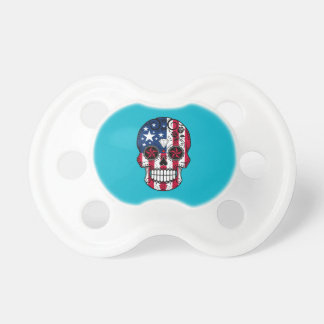 Customizable American Flag Sugar Skull with Roses Pacifier