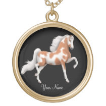 Customizable American Saddlebred Paint Horse Gold Plated Necklace