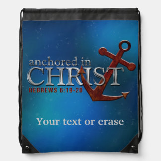 Customizable Anchored in Christ Drawstring Bag