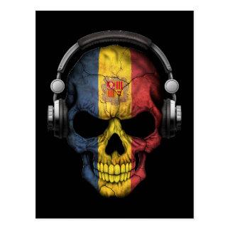 Customizable Andorran Dj Skull with Headphones Postcard
