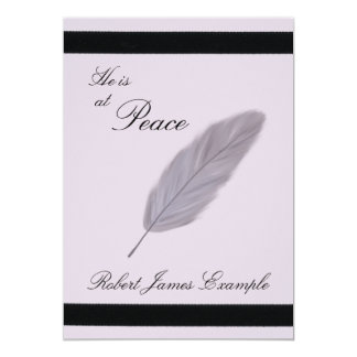 """Customizable Announcement of Death (Feather) 5"""" X 7"""" Invitation Card"""