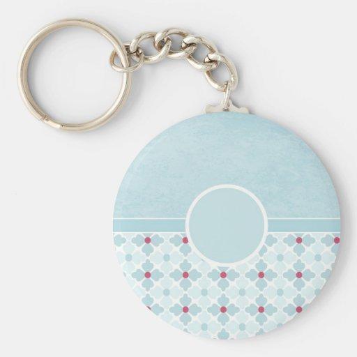 Customizable Aqua and Pink Abstract  Keychain