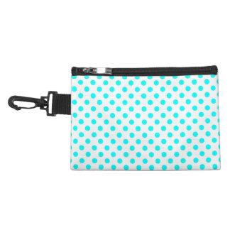 Customizable Aqua Blue on White Polka Dots Accessory Bag