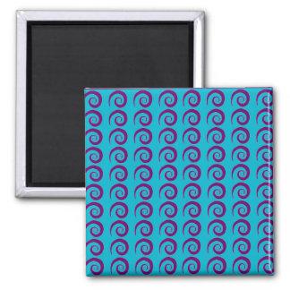 Customizable Aqua Curl Pattern 2 Inch Square Magnet