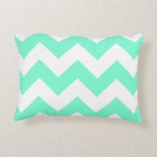 Customizable Aquamarine Zigzag Pattern Accent Pillow