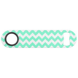Customizable Aquamarine Zigzag Pattern Speed Bottle Opener