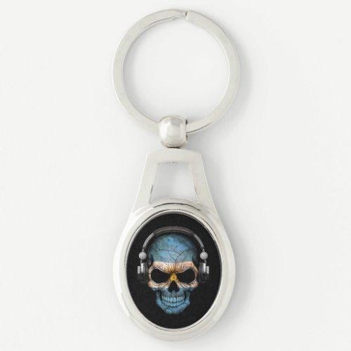 Customizable Argentine Dj Skull with Headphones Keychain