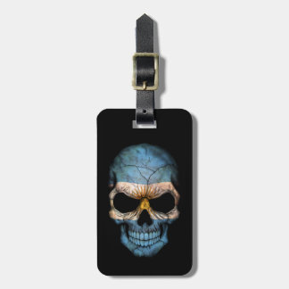 Customizable Argentine Flag Skull Tag For Bags