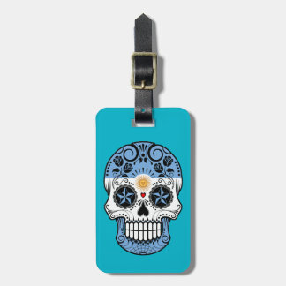 Customizable Argentinian Sugar Skull with Roses Tag For Luggage