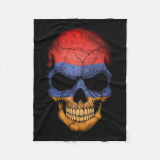 Customizable Armenian Flag Skull Fleece Blanket