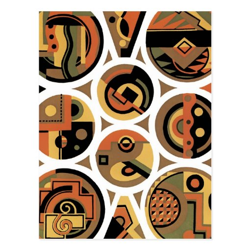 Customizable Art Deco Geometric Circle Abstract Postcards