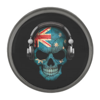 Customizable Australian Dj Skull with Headphones Gunmetal Finish Lapel Pin