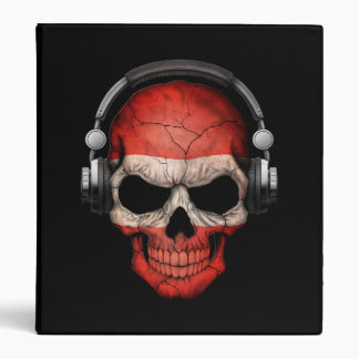 Customizable Austrian Dj Skull with Headphones 3 Ring Binder