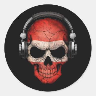 Customizable Austrian Dj Skull with Headphones Classic Round Sticker
