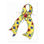 Customizable Autism Ribbon wifh Flower Post Cards